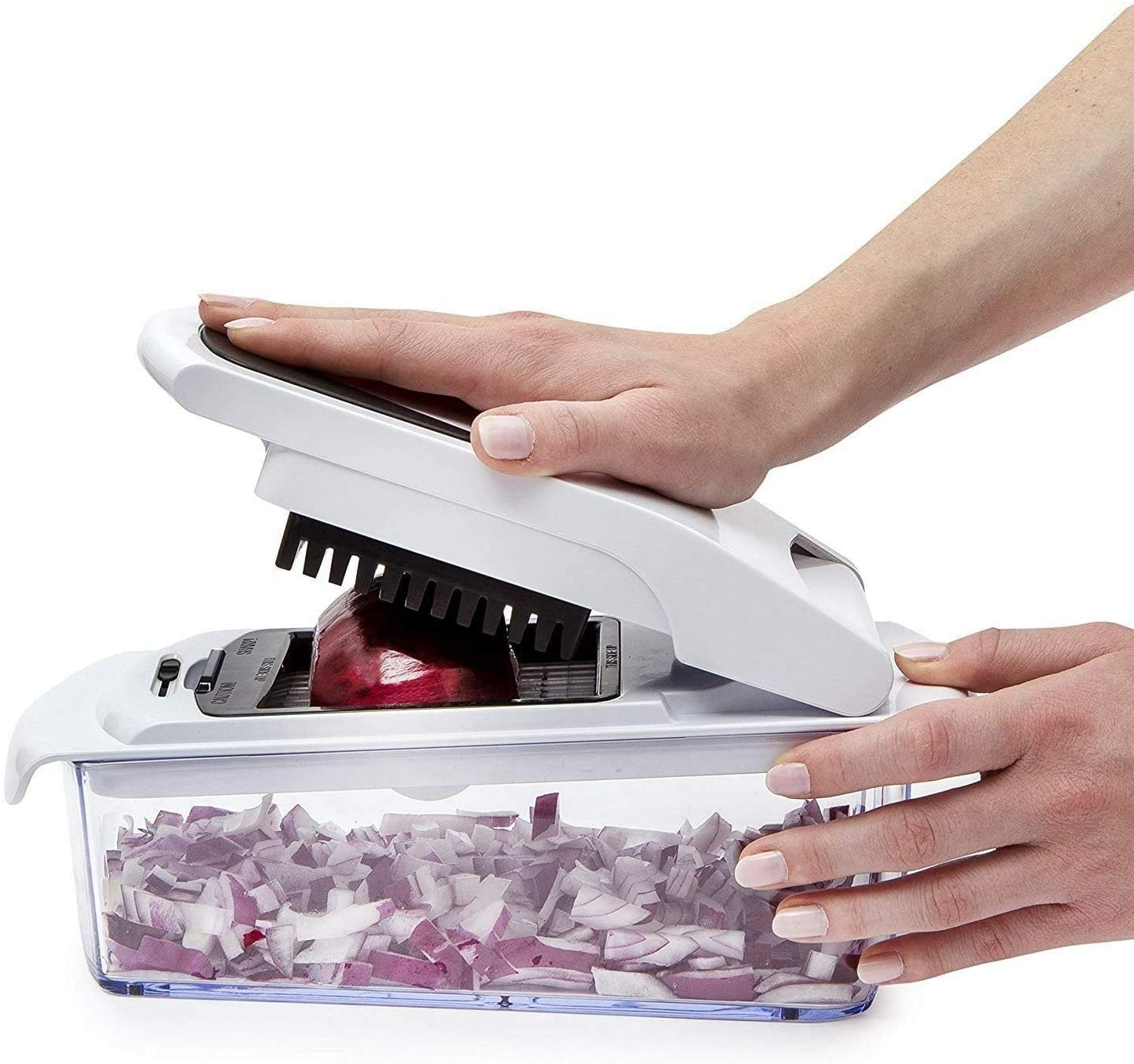 Sharper Image Professional 7-in-1 Vegetable Chopper and Spiralizer with Built-In Storage Container - Chop, Cut, Spiralize ,and Store all Your Favorite Veggies! No More Tears