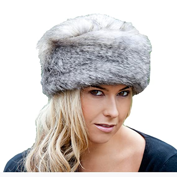 59175b17749ee Faux Fur Russian Hat - Wolf Grey - Large: Amazon.co.uk: Clothing