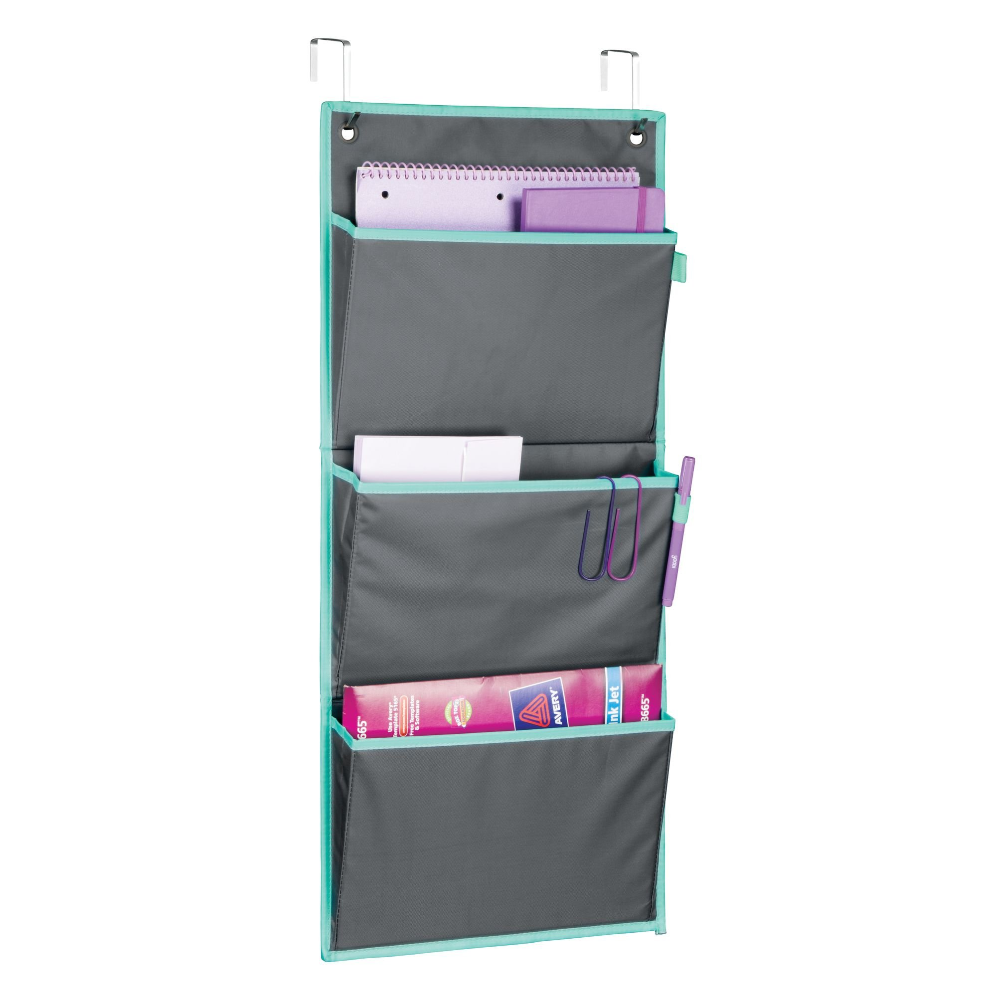 mDesign Soft Fabric Over the Door Hanging Storage Organizer with 3 Large Pockets for Home Office, Cubicle – Gray/Teal Blue