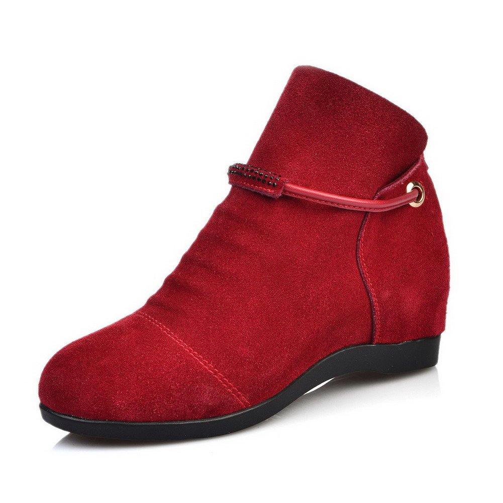 WeenFashion Women's Cow Imitated Suede Low-Heels Round-Toe Boots with In Elevator Shoes and Glass Diamond, Red, 39