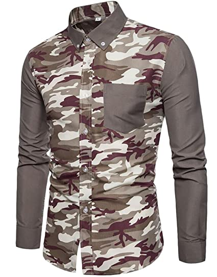 762880b404 X-Future Mens Slim Fit Long Seeve Camo Patchwork Pocket Button Down Shirts  at Amazon Men s Clothing store