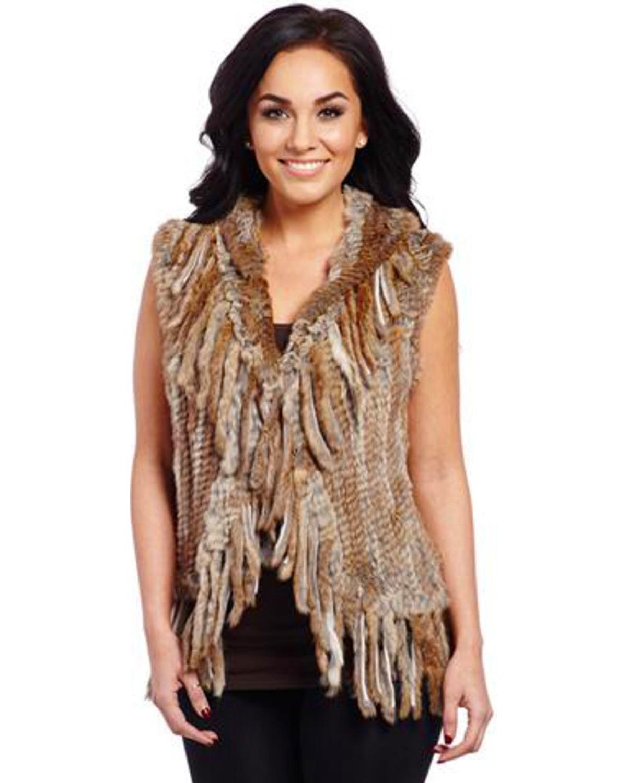 Cripple Creek Women's Faux Rabbit Fur Vest Tan Large