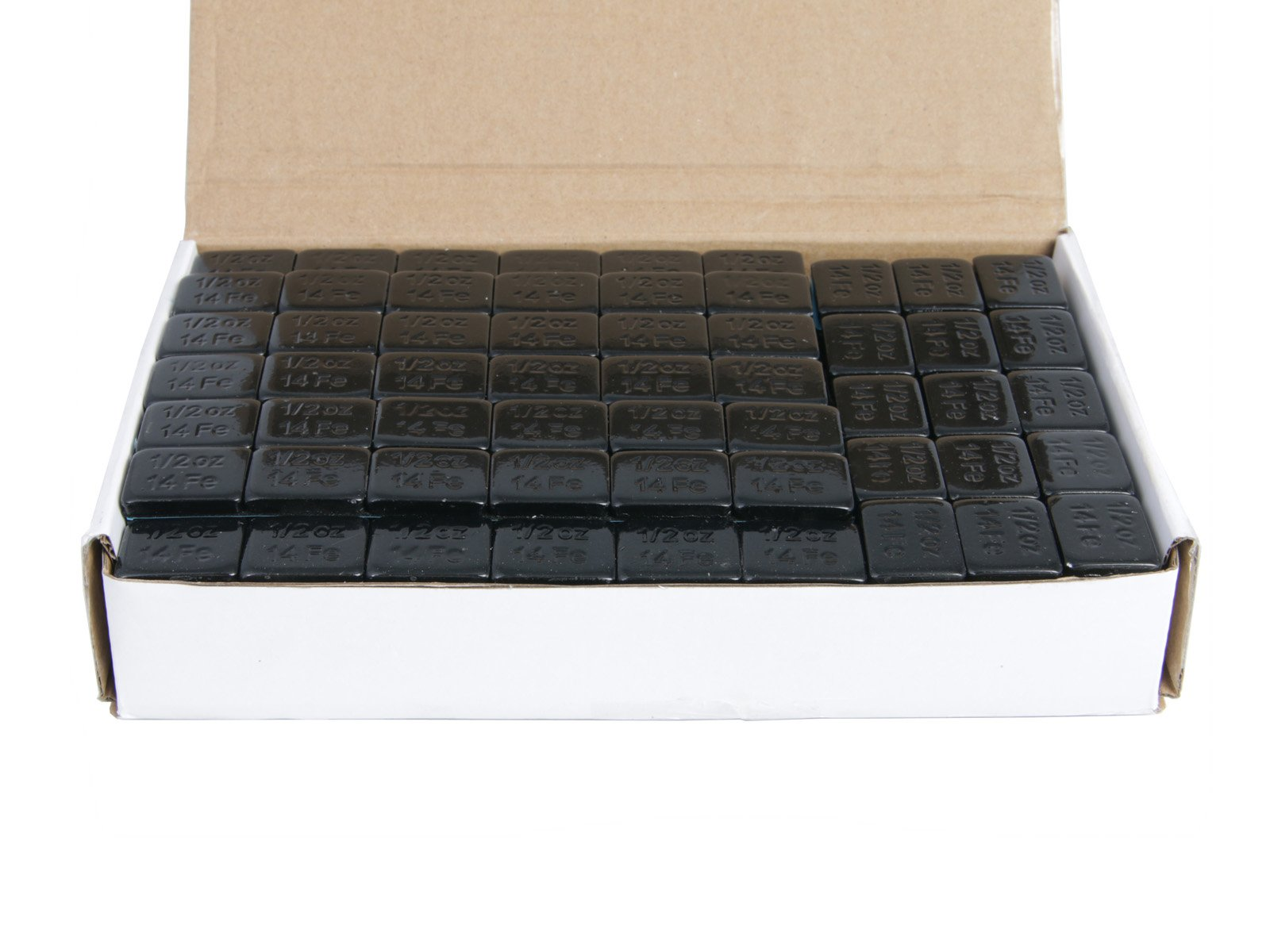 (1) Box of 1/2 ounce (0.5oz) Black, Adhesive, Stick On Wheel Weights (Low Profile) - Zinc Plated (Lead Free) - 204oz (~13 lbs) total, 68 total 3-oz strips, 408 total pieces by Precision European Motorwerks (Image #2)