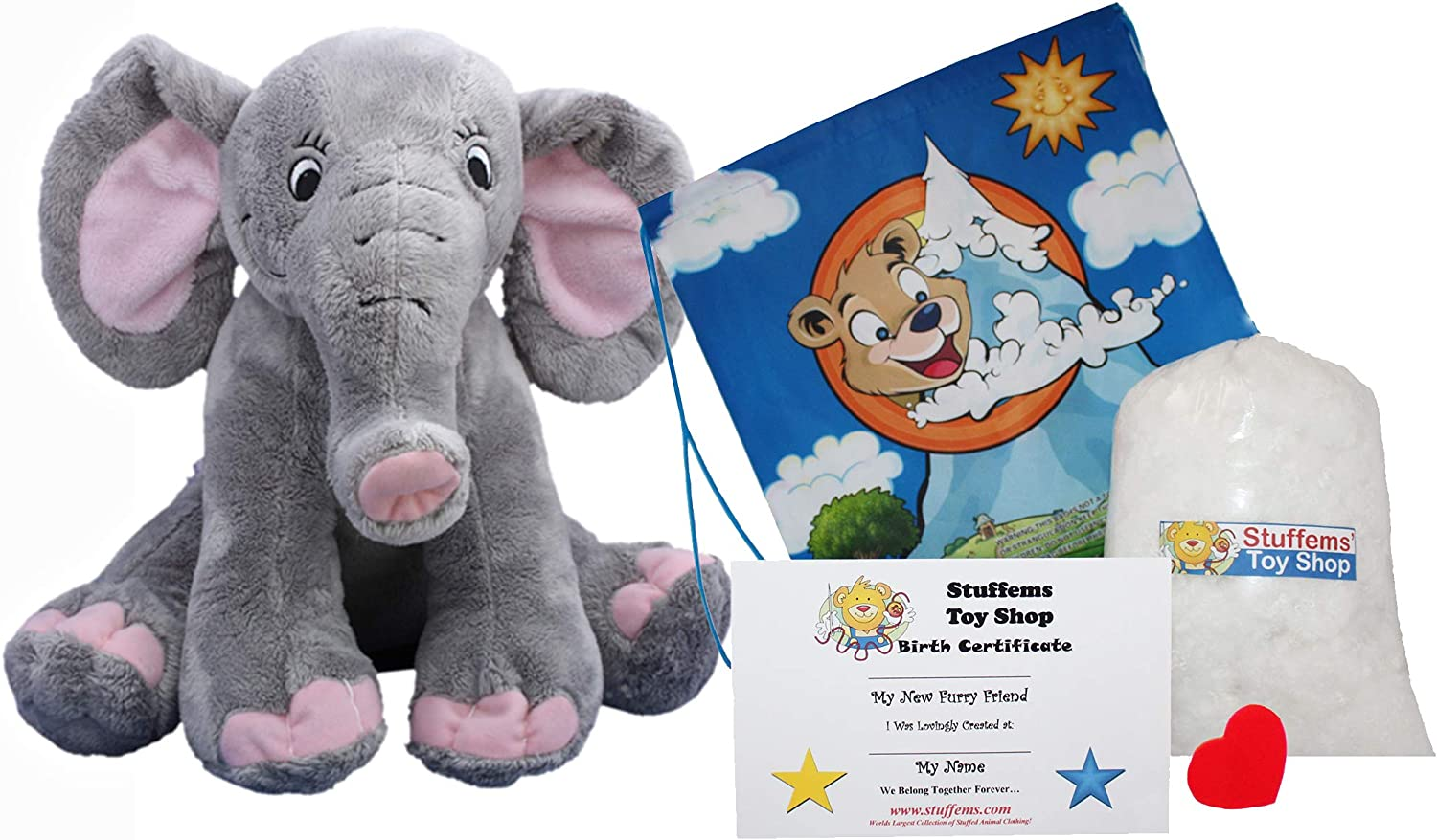 Make Your Own Stuffed Animal Pink Elephant 16 Stuffems Toy Shop Kit With Cute Backpack No Sew