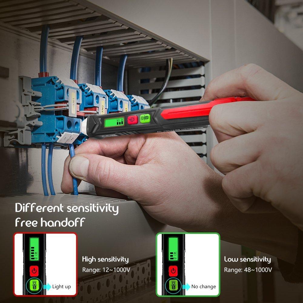Protmex Wechselstrom-Spannungs-Detektor Empfindlichkeit justierbare elektrische Werkzeuge Spannungspr/üfer