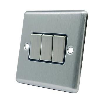 Dreifach Lichtschalter 3 Gang – Satin Chrom matt – quadratisch ...