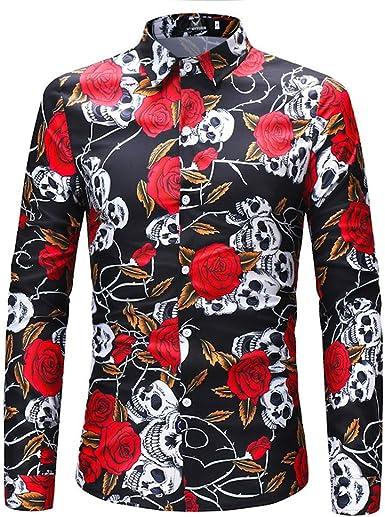 CAOQAO Camisa Hawaiana Hombre Flores Shirts Estampada Manga Larga S-XXXL: Amazon.es: Ropa y accesorios