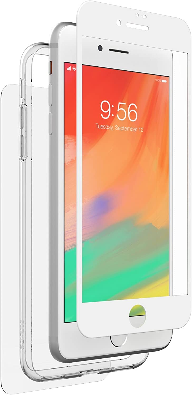 ZAGG InvisibleShield Glass+ 360 - Front + Back Screen Protection with Side Bumpers Made for Apple iPhone 8 Plus - White (200101564)