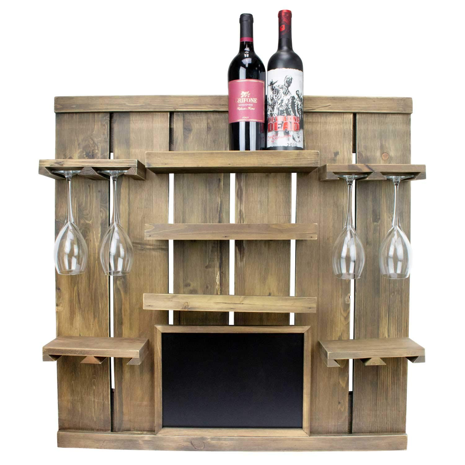 Atterstone Chalkboard Wine Rack Shelf, Wall Mounted, Wooden Wine Rack Shelf, Comes with 3 Horizontal Wine Racks and Hanging Stemware Holders for 8 glasses
