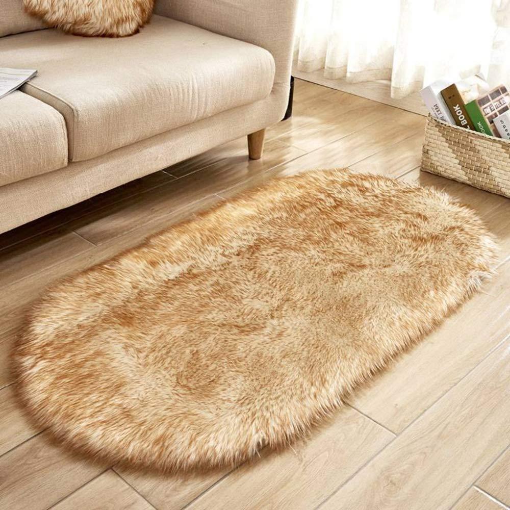 WHITNEY Moquette Longue Fourrure Brillante Tapis De Sol Tapis De Lit D/écor /à La Maison,Khaki-40X60cm
