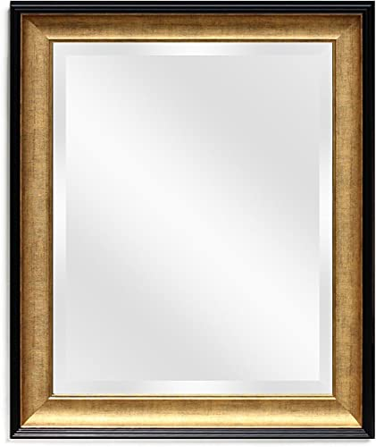 Wall Beveled Mirror Framed – Bedroom or Bathroom Rectangular Frame Hangs Horizontal Vertical by EcoHome 21 x25 , Gold