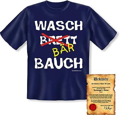 Lustiges Funshirt Urkunde Motiv Wasch Brett Bär Bauch