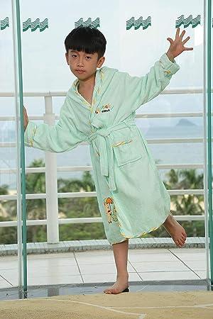 FERFERFERWON Camisa de Dormir Batas de algodón para niños con Capucha, Albornoz, Caricatura,