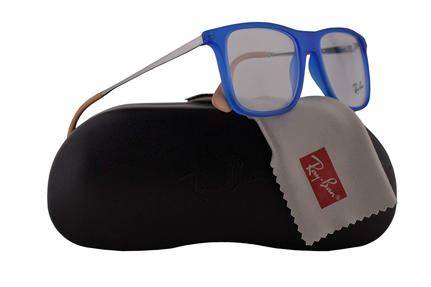 Ray Ban RX7054 Eyeglasses 51-17-140 Rubber Blue w/Demo Clear Lens 5524 RX 7054 RB 7054 RB7054