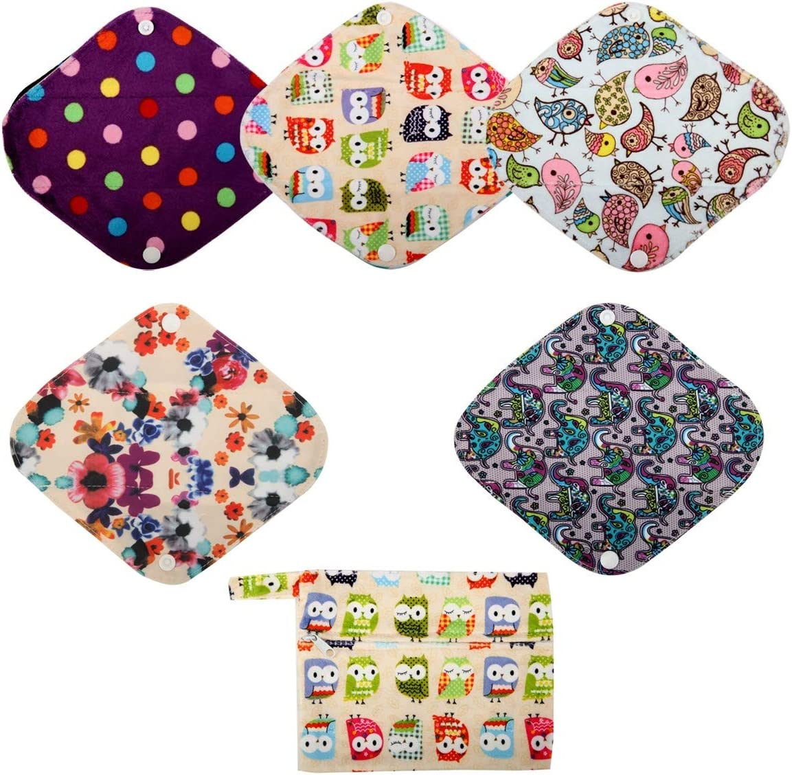 Incontinence Washable Panty Liner Cloth Wingless Panty Liners Surprise 5 Pack Cloth Pantyliners Cloth Pad Liners Set Reusable Liners