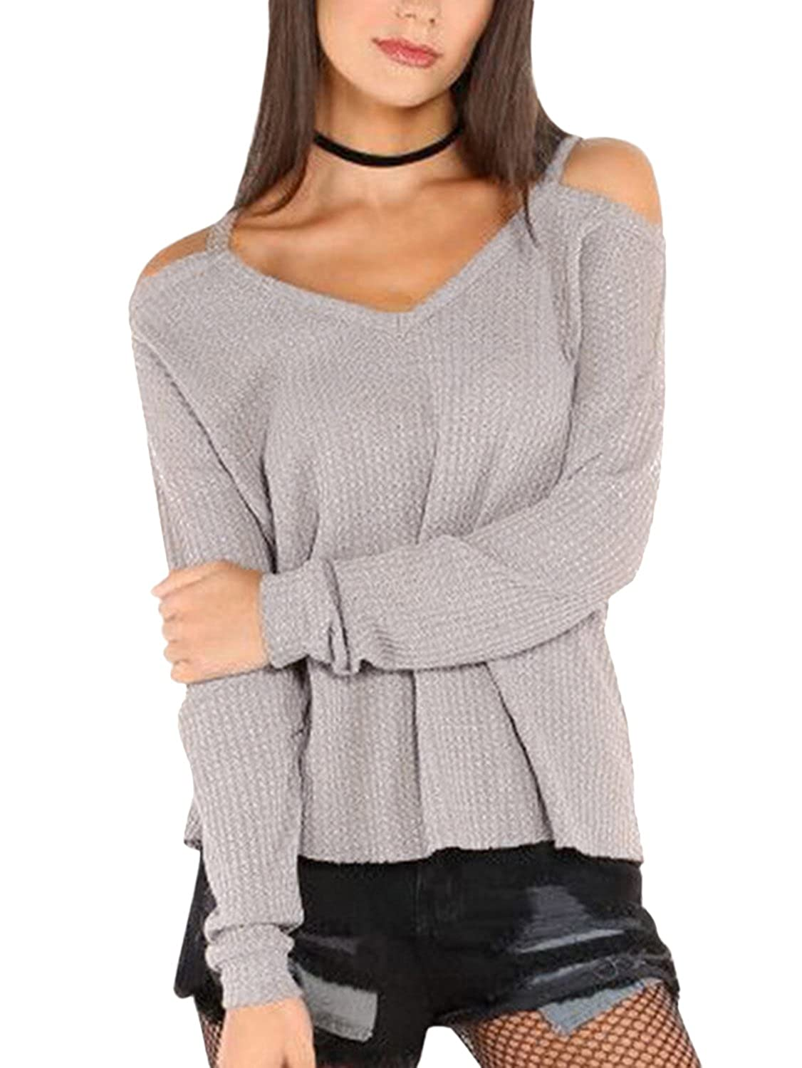 8a311d73e3 YOINS Women Casual Top Cold Shoulder Long Sleeves V Neck Blouses at Amazon  Women s Clothing store