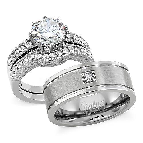 HIS and HErS Juego de anillos de boda acero inoxidable 2.29 quilates Zirocnia cúbico novia juego