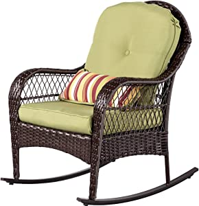 Sundale Outdoor Wicker Rocking Chair Rattan Outdoor Patio Yard Furniture All- Weather with Cushions & Lumbar Pillow (Green)