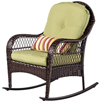 sundale outdoor wicker rocking chair rattan outdoor patio yard furniture all weather with cushions - Wicker Rocking Chair