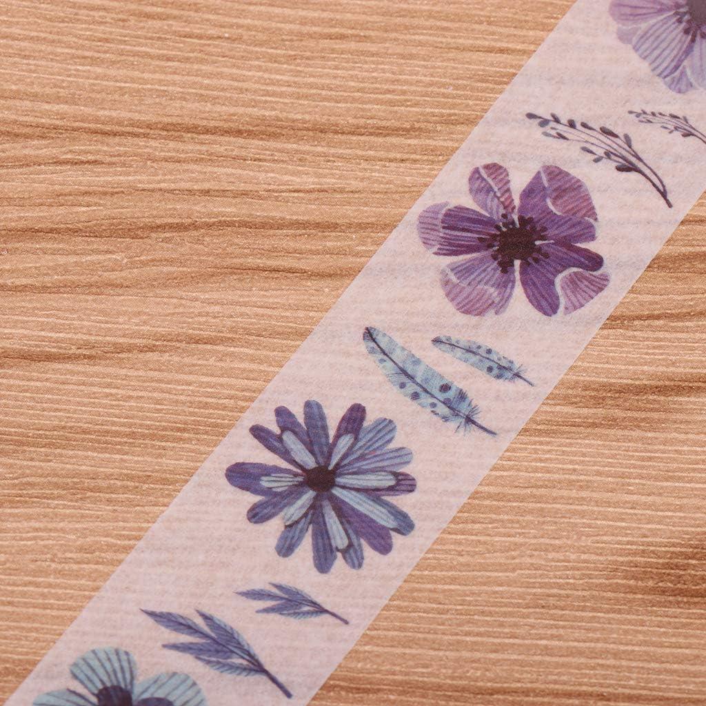 Flower IPOTCH 2 Rouleaux Washi Tape Ruban Adh/ésif Papier D/écoratif Papeterie Japonaise Kawaii Scrapbooking Fournitures de Bureau Scolaire