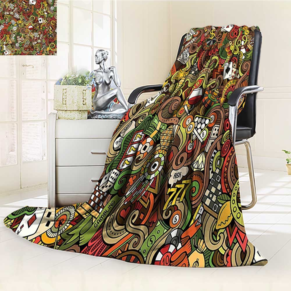 Throw Blanket Doodles Style Art Bingo Excitement Checkers King Tambourine Vegas Warm Microfiber All Season Blanket for Bed or Couch