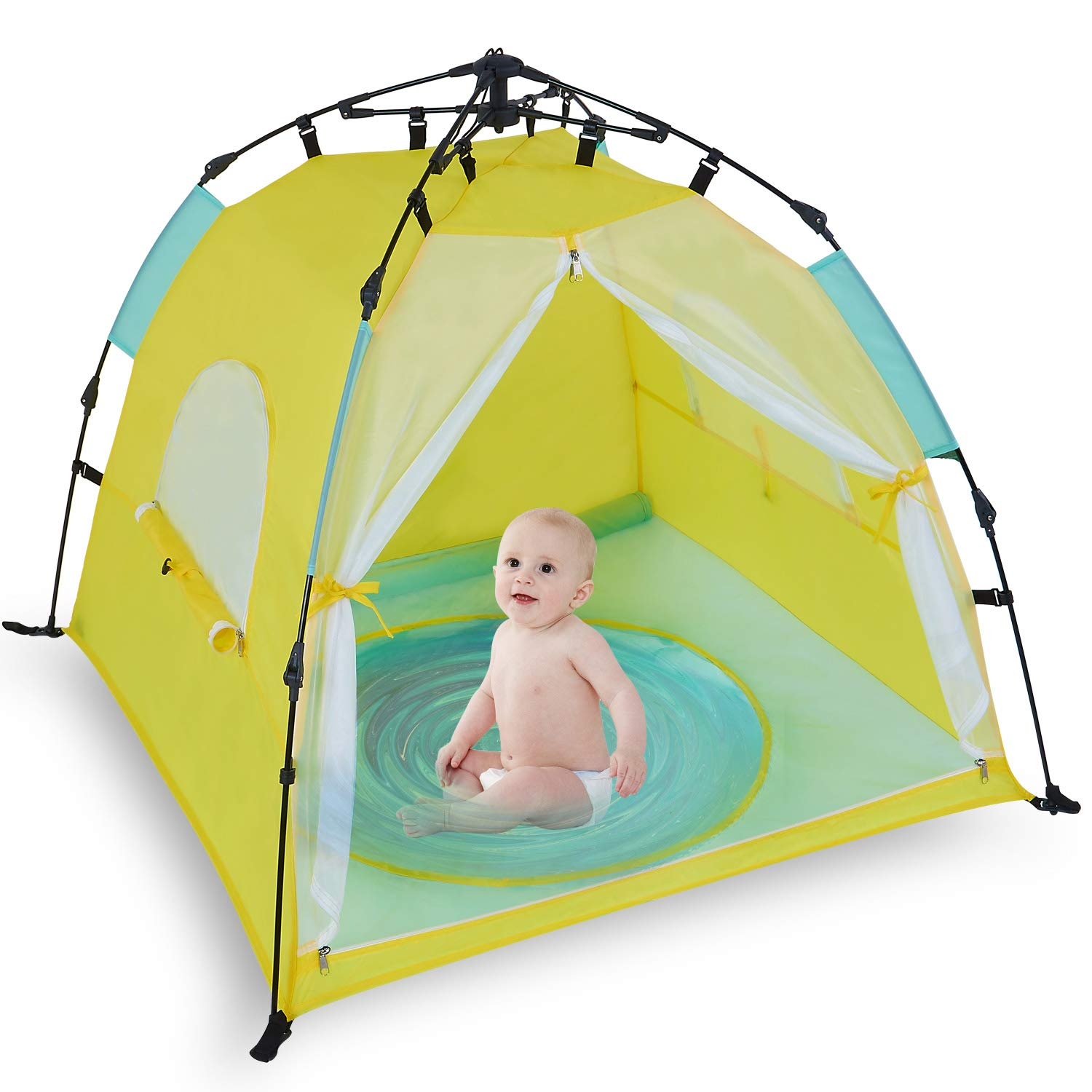 Bend River Automatic Instant Baby Tent with Pool, UPF 50+ Beach Sun Shelter, Portable Mosquito Net/Travel Bed for Infant by Bend River