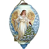 Precious Moments, Ne'Qwa Art 7171118 Hand Painted Blown Glass Standard Princess Shaped Winter Forest Angel Ornament, 5.5-inches