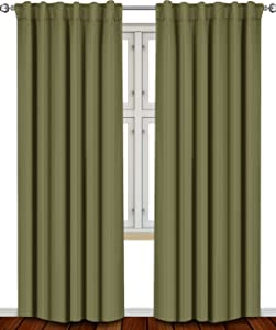 Utopia Bedding Blackout Room Darkening and Thermal Insulating Window Curtains/Panels/Drapes - 2 Panels Set - 7 Back Loops per Panel - 2 Tie Backs Included (Olive, 52 x 84)