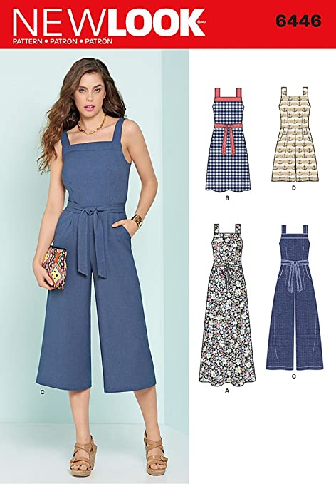 New Look Sewing Pattern 6446A Misses\' Jumpsuits and Dresses, White ...