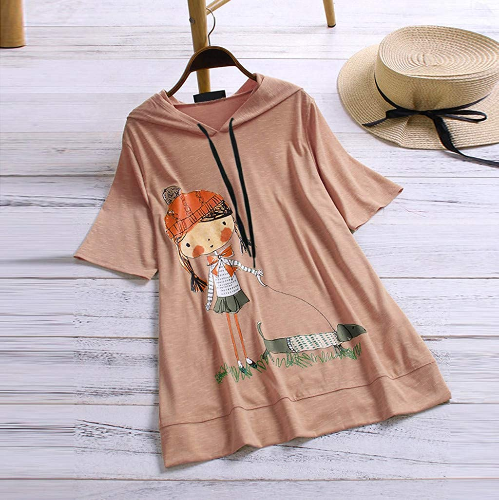JOFOW Hooded Shirts Womens Girls Casual Loose Short Sleeve Tops