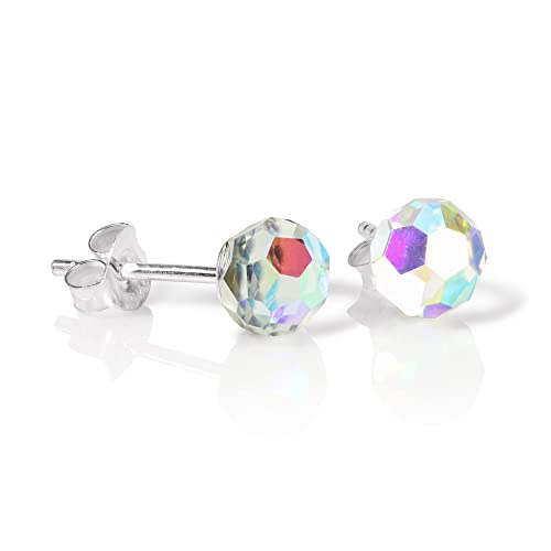 290d49bf1 Image Unavailable. Image not available for. Color: Sterling Silver & Aurora  Borealis Faceted 6mm Crystal Ball Stud Earrings