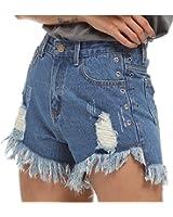 Season Show Women's High Waist Tassel Destroyed Ripped Jeans Denim Shorts