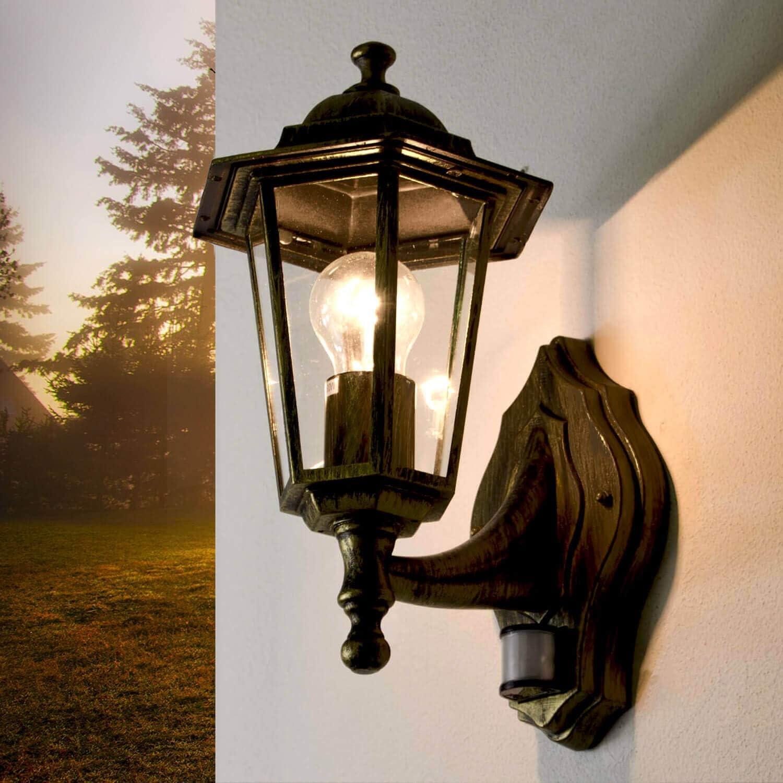 Lámpara de exterior antigua con detector de movimiento PARIS lámpara sensor de forma de linterna lámpara de pared lámpara de exterior puerta de balcón