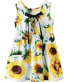 4a97356a5 Fillsion Newborn Baby Girls Sunflower Dress Off Shoulder Sundress Princess  Outfits Clothes
