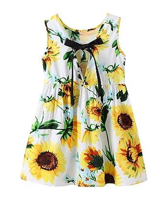 adfc59384 Fillsion Newborn Baby Girls Sunflower Dress Off Shoulder Sundress Princess Outfits  Clothes (1-2