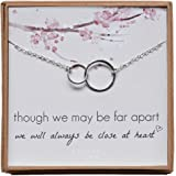 Long Distance Love Necklace, Sterling Silver Two Infinity Double Circles Jewelry Gift for Wife, Girlfriend, Daughter, Sister