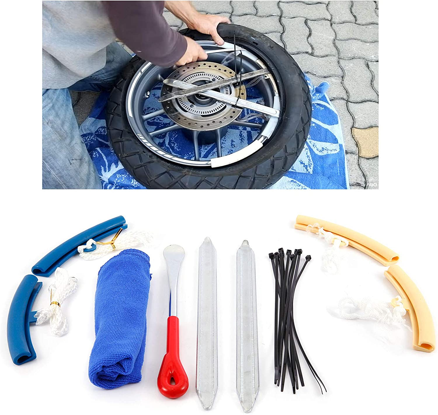SurePromise Tire Lever Spoon Tyre Removal Tool Kit with 4pcs Wheel Rim Protector Cable Tie and Cleaning Towel Kit for Car Motorcycle Mountain Bike Tire Changing Removing