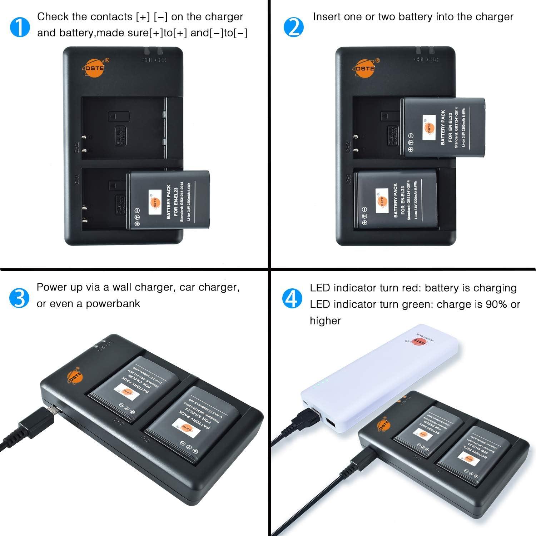 Dste 2pcs Ersatz Li Ion Batterie Usb Dual Ladegerät Kamera