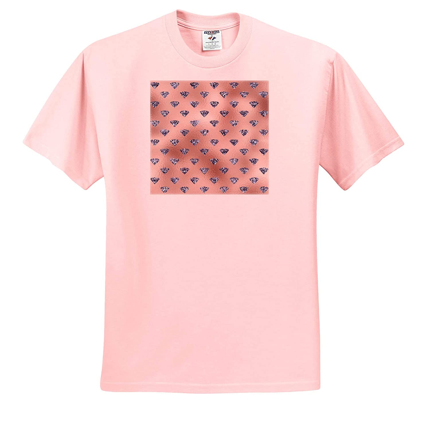 Adult T-Shirt XL Glam Blue Image of Jewels On Image of Pink Foil Pattern 3dRose Anne Marie Baugh ts/_317657 Patterns