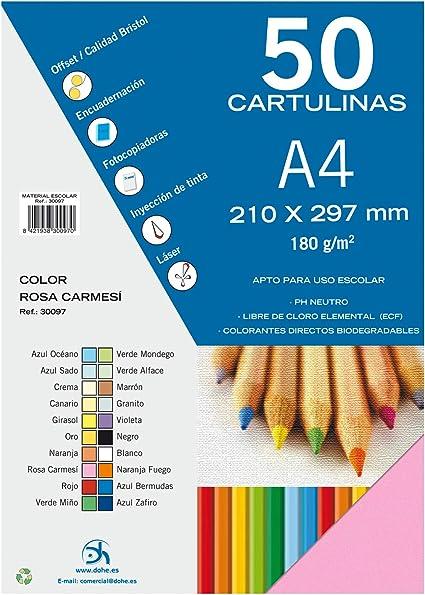 Dohe 30097 - Pack de 50 cartulinas, A4, color rosa carmesí: Amazon ...