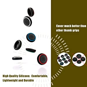 Insten [2 Pair / 4 Pcs] Wireless Controllers Silicone Analog Thumb Grip Stick Cover, Game Remote Joystick Cap for PS4 Dualshock 4/ PS3 Dualshock 3/ PS2 Dualshock/Xbox One/Xbox 360, Black/Red