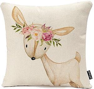 Throw Pillow Cover Floral Bohemian Boho Woodland Watercolor Baby Nursery Girl Decorative Pillow Case Home Decor Square 18 x 18 inch Cotton Linen Pillowcase