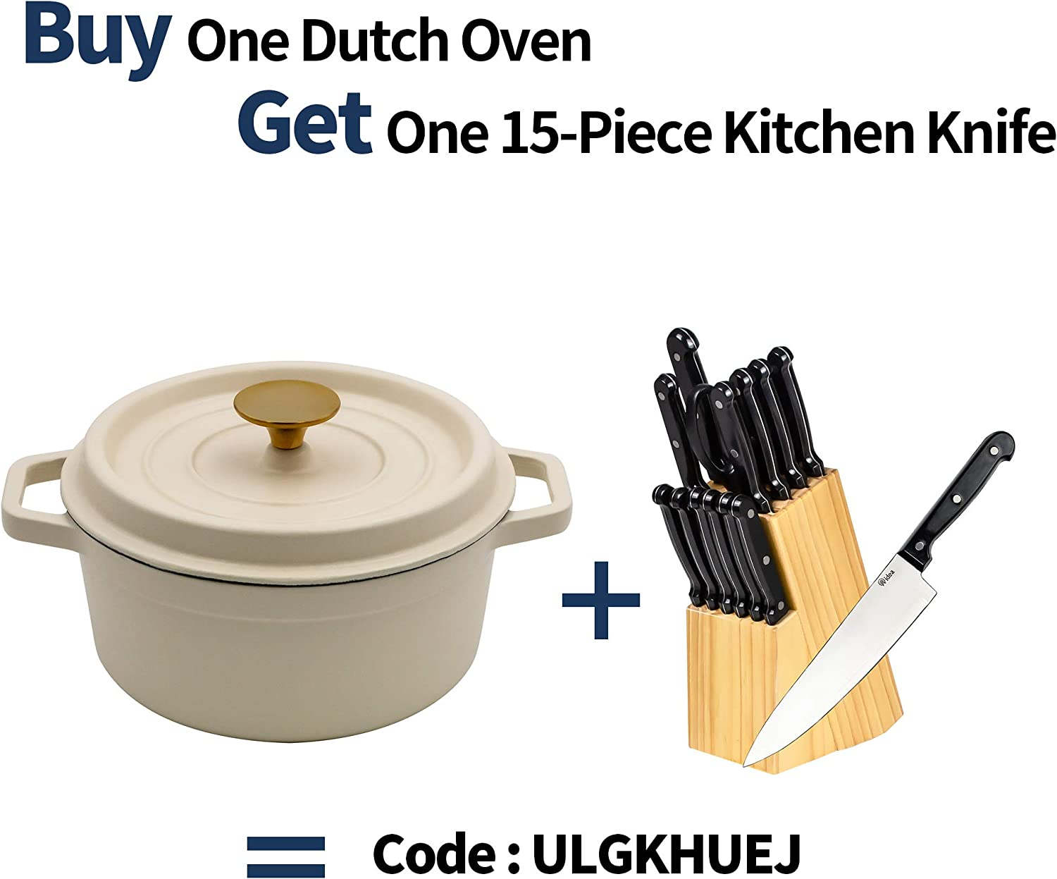 AIDEA Enameled Cast Iron Matte Dutch Oven Pot with Lid-5 Quart All-round for Preparing Low and Slow Cooking Meals-White