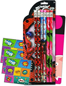 Miraculous Ladybug Pencil Set - 6 Pencils Pack Bundle Includes Separately Licensed GWW Bookmark and Reward Stickers for Kids