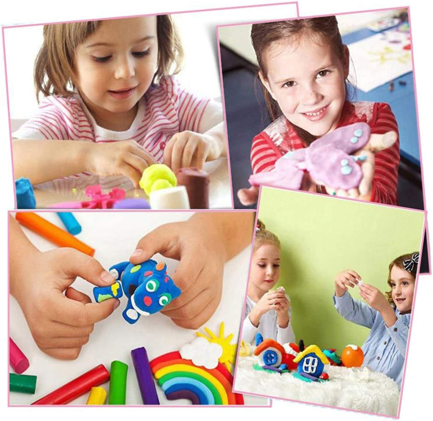 Model Magic Clay with Tools Instructions Molding Clay STEM Toys Best Gift for Boys Girls Funny Poop Air Dry Clay 24 Colors Modeling Clay for Kids