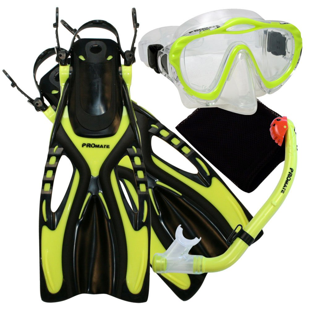 Promate 4570, YEL, LXL, Junior Snorkeling Scuba Diving Mask Dry Snorkel Fins Set for Kids by Promate