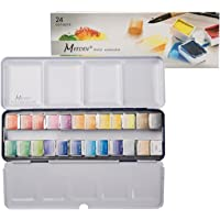 MEEDEN Art Watercolour Tin Palette Paint Case with 24 Colours Half Pan Paints Portable Watercolour Paint Set Navy Blue Enamel Exterior