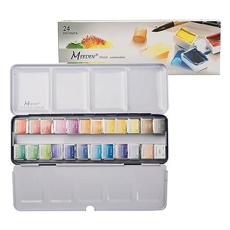 e657248108bc MEEDEN Art Watercolor Tin Palette Paint Set with 24 Colors Half Pan Paints  Portable Watercolor Paint