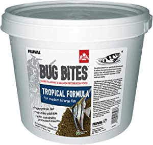 Fluval Bug Bites Tropical Fish Food, Large Granules for Medium to Large Sized Fish, 3.74 lb., A6597, Brown