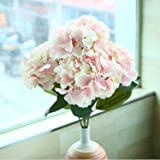 Soledì- 1 Mazzo di 5 Fiori Artificiali Ortensia, Fioritura in Seta, Bouquet Decorazione per Sposina Cerimonia Matrimonio Casa (Rosa)